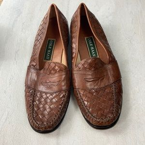 Cole Haan slip on leather brown loafers